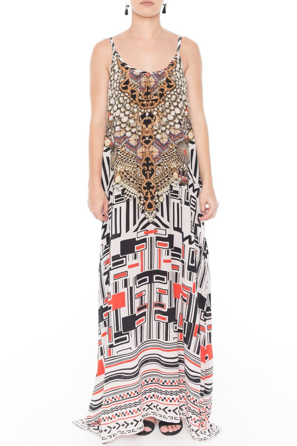 IKOZIAN COLLECTION - MAXI DRESS WITH ADJUSTABLE STRAPS