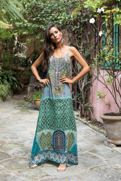 MARRAKESH COLLECTION - MAXI DRESS WITH ADJUSTABLE STRAPS