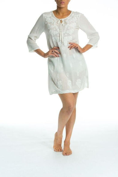 AZTECA - Tunic Dress (White With White Embroidery) - TheSwankStore - 1