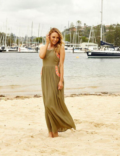 MIMOSA - MaxiDress with Cut Out Back - Olive - TheSwankStore - 1