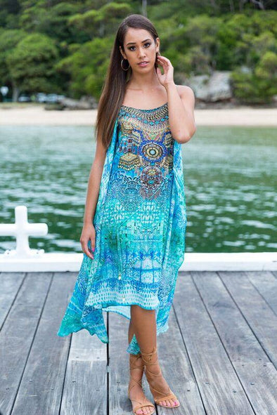 PACIFICO - Overlay Dress with Flowing Cape