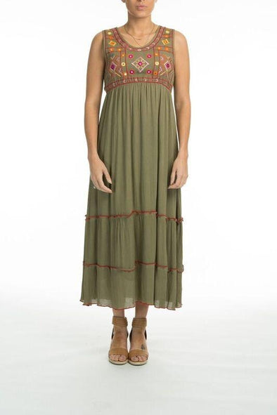FLORENTIA - Sleeveless Maxi Dress in Olive - TheSwankStore - 1