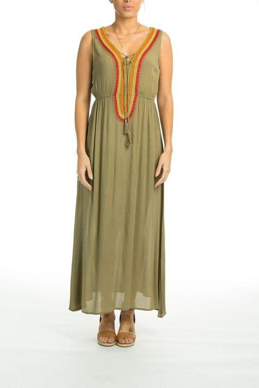 BELLA VISTA EMBROIDERED SLEEVELESS DRESS IN OLIVE - TheSwankStore - 1
