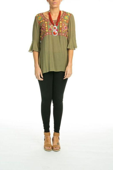 BORDRUM - Tunic Top in Olive - TheSwankStore - 1