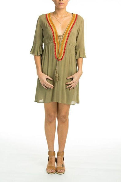 BELLA VISTA - Sleeved Dress in Olive - TheSwankStore - 1