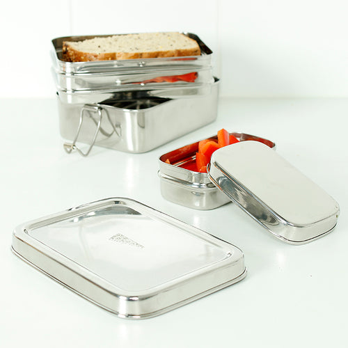 Two Tier Rectangle Lunchbox with Added Mini Container - Panna -Slice of Green
