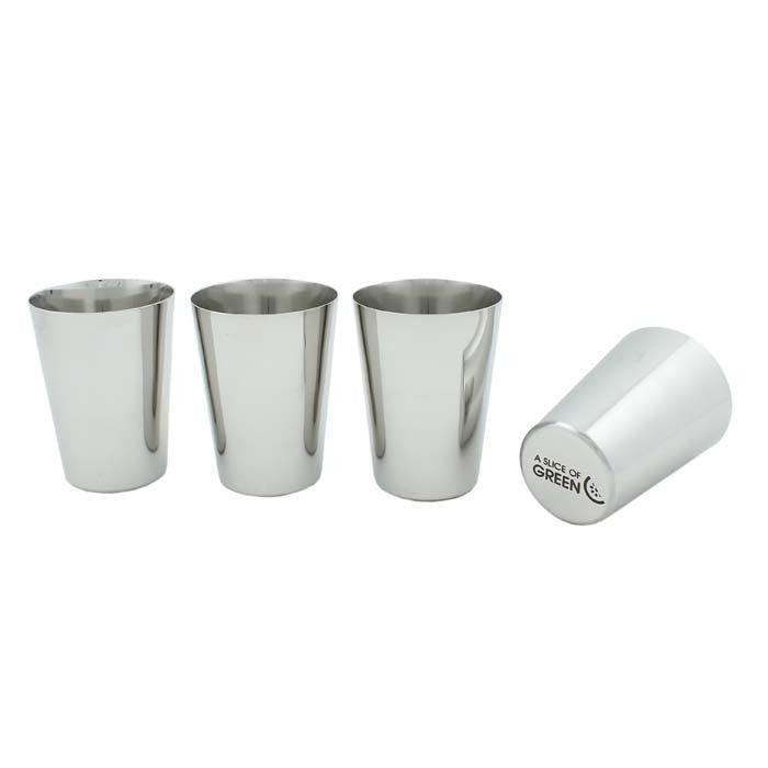 Stainless Steel Set of 4 Cups -A Slice Of Green