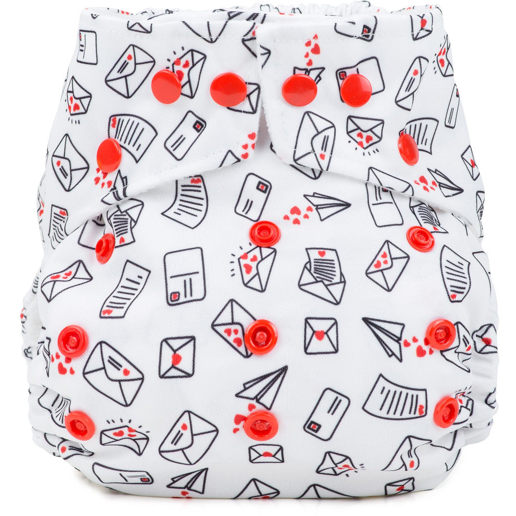 Baba+Boo One Size Reusable Cloth Nappy - Love Letters