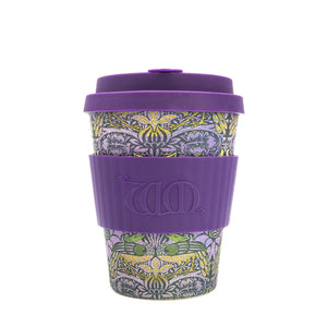 Reusable Bamboo Ecoffee Cup - William Morris Peacock 12oz 340ml