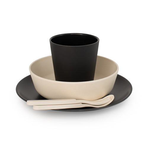 Bobo & Boo Bamboo Dinner Set -Monochrome