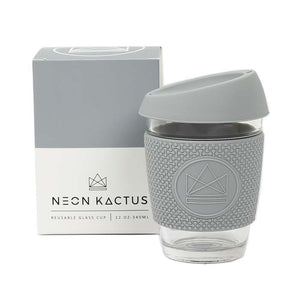 Reusable Glass Coffee Cup - Forever Young Grey