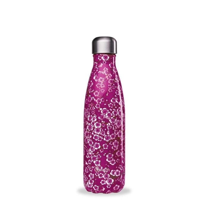 Insulated Stainless Steel Water Bottle - Flowers Pink - Qwetch