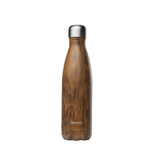 Insulated Stainless Steel Water Bottle - Wood - Qwetch