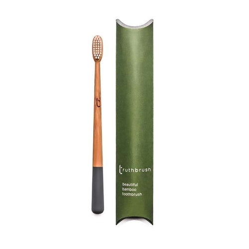 Bamboo toothbrush with Medium Castor Oil Bristles -Storm Grey- Truthbrush