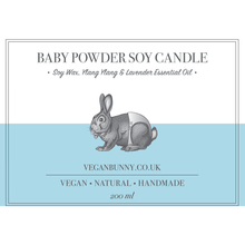 Baby Powder Soy Candle -Vegan Bunny