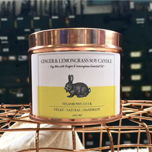 Ginger and Lemongrass Soy Candle -Vegan Bunny