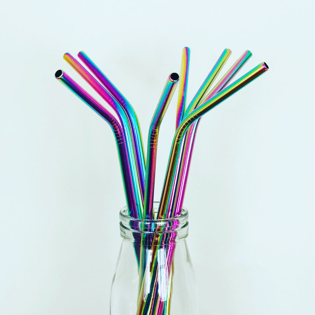Rainbow Stainless Steel Reusable Straw Single