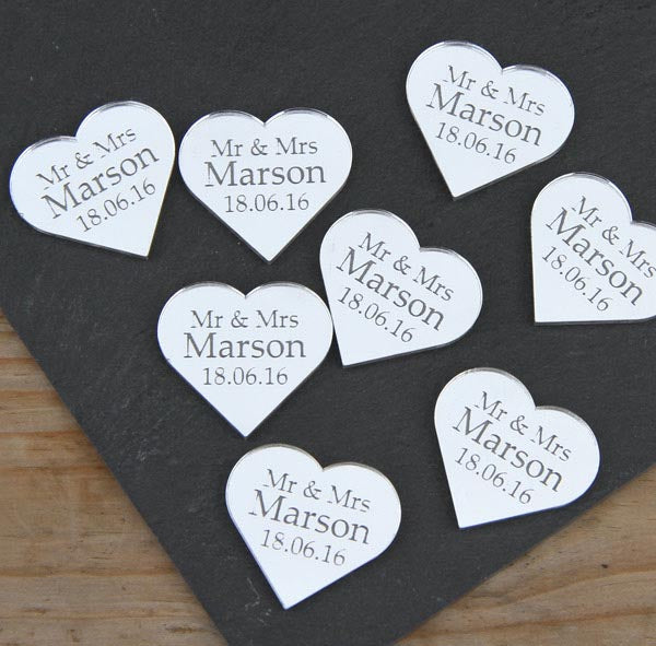 "X50 Mirror Hearts ""wedding favours"""