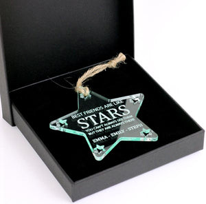 Best friends are like stars Christmas Tree Star Glass Effect