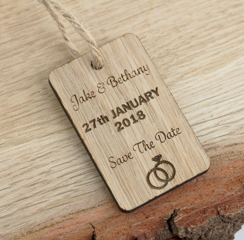 X5 Oak Save The Date Gift Tags