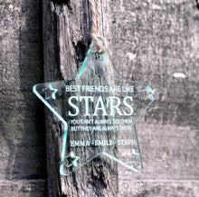 Load image into Gallery viewer, Best friends are like stars Christmas Tree Star Glass Effect
