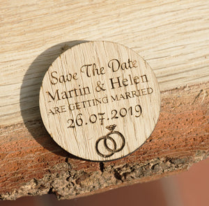 X5 Round Oak Save The Date Gift Tags
