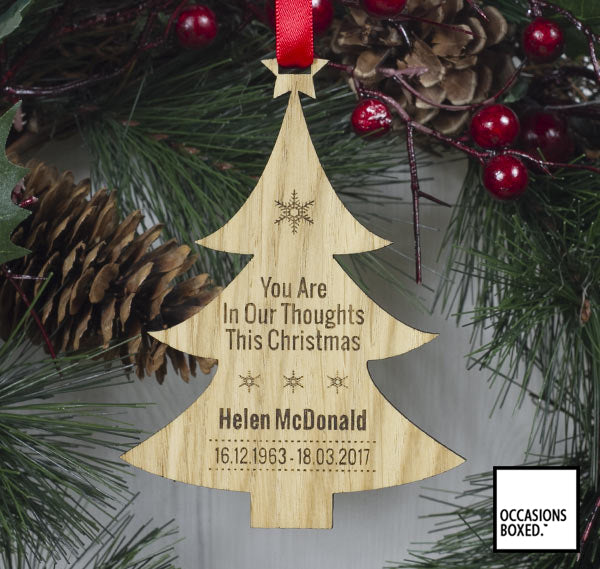 You Are In Our Thoughts Oak Christmas Tree Decoration