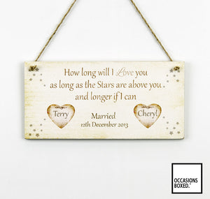 Shabby Style How long Will I Love You Plaque