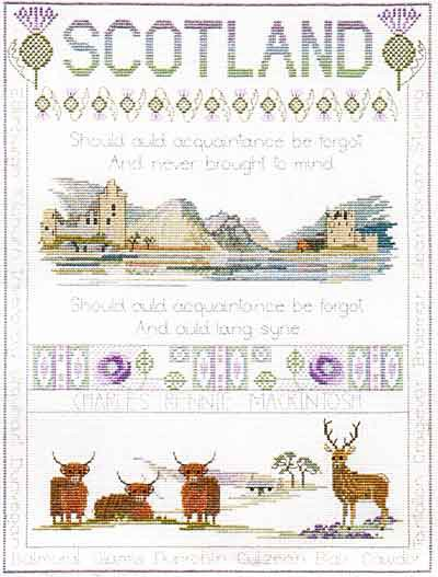 Scotland Sampler Cross Stitch Kit by Derwentwater Designs