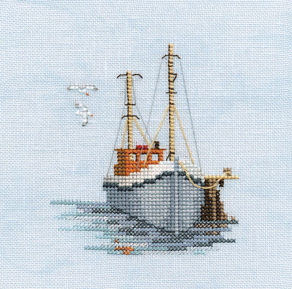 Fishing Boat Cross Stitch Kit by Derwentwater Designs
