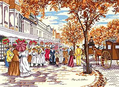 Autumn on Lord Street All Our Yesterdays Cross Stitch Kit by Faye Whittaker