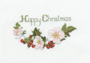 Christmas Roses Cross Stitch Christmas Card Kit by Derwentwater Designs