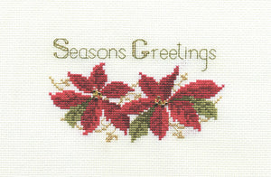 Poinsettias Cross Stitch Christmas Card Kit by Derwentwater Designs