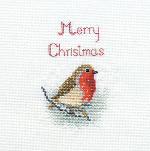 Snow Robin Cross Stitch Christmas Card Kit by Derwentwater Designs