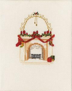Christmas Fireplace Cross Stitch Christmas Card Kit by Derwentwater Designs