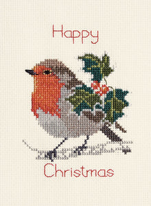 Holly and Robin Cross Stitch Christmas Card Kit by Derwentwater Designs