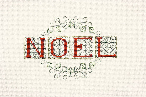 Noel Cross Stitch Christmas Card Kit by Derwentwater Designs