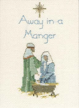 Away in a Manger Cross Stitch Christmas Card Kit by Derwentwater Designs