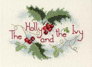 The Holly and the Ivy Cross Stitch Christmas Card Kit by Derwentwater Designs