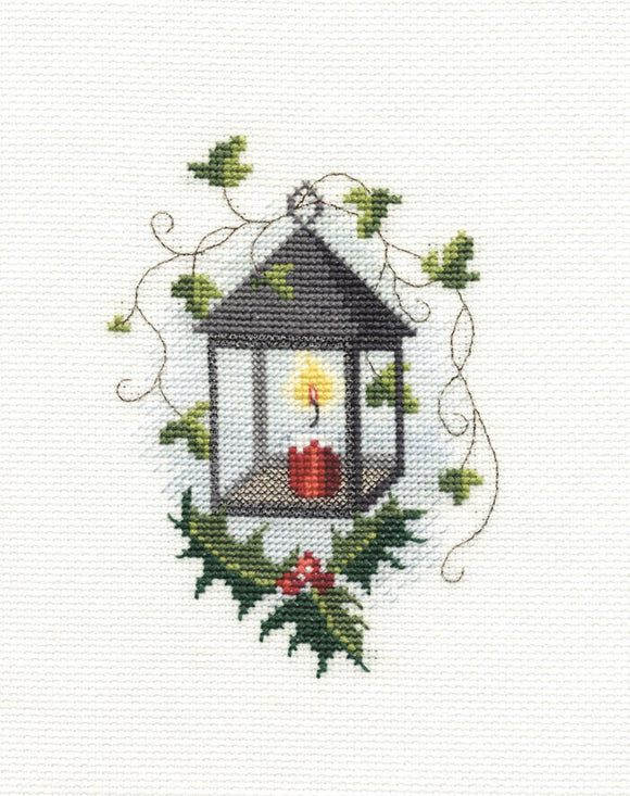Lantern Cross Stitch Christmas Card Kit by Derwentwater Designs