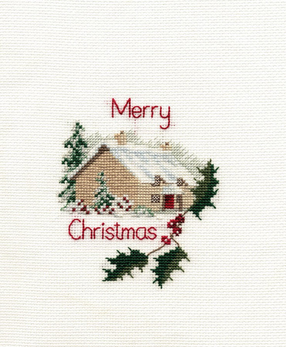 Christmas Cottage Cross Stitch Christmas Card Kit by Derwentwater Designs