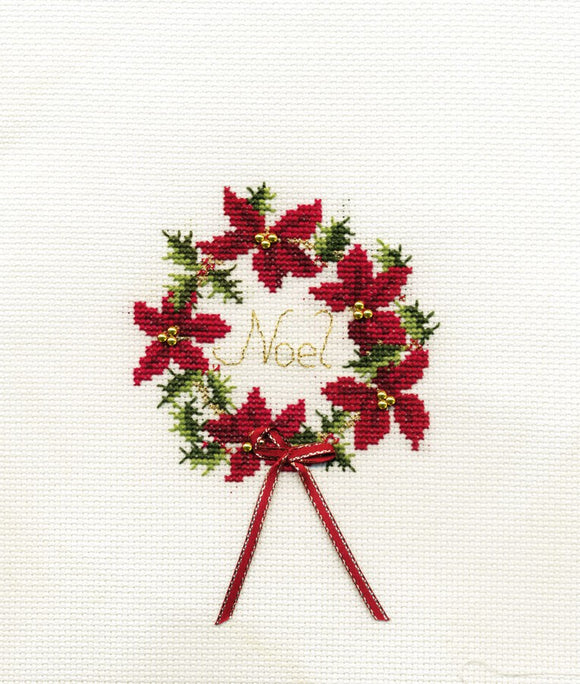 Wreath Cross Stitch Christmas Card Kit by Derwentwater Designs
