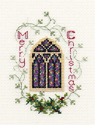 Stained Glass Window Cross Stitch Christmas Card Kit by Derwentwater Designs