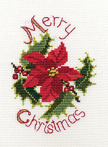 Poinsettia and Holly Cross Stitch Christmas Card Kit by Derwentwater Designs