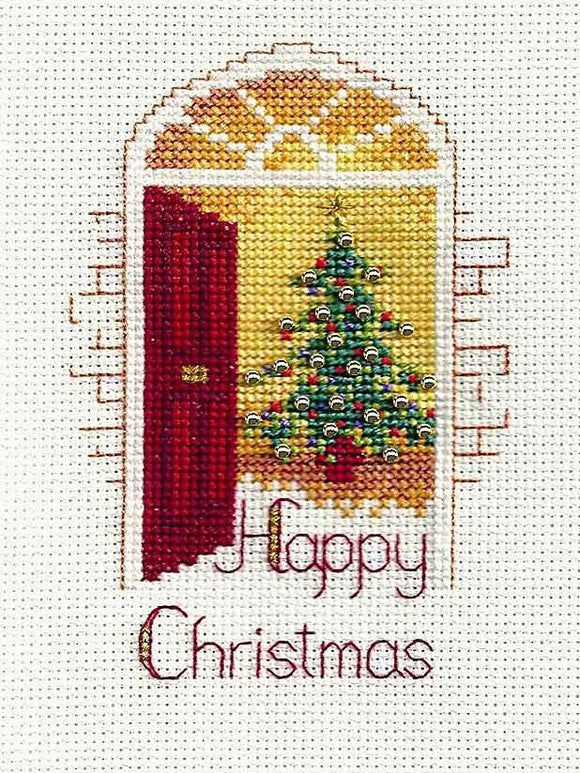Warm Welcome Cross Stitch Christmas Card Kit by Derwentwater Designs