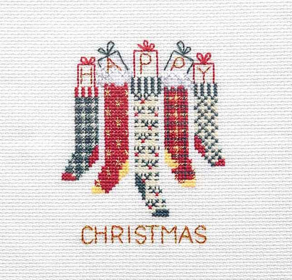 Christmas Stockings Cross Stitch Christmas Card Kit by Derwentwater Designs