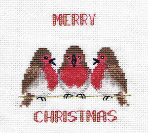 Robin Trio Cross Stitch Christmas Card Kit by Derwentwater Designs