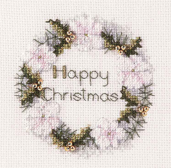 Golden Wreath Cross Stitch Christmas Card Kit by Derwentwater Designs
