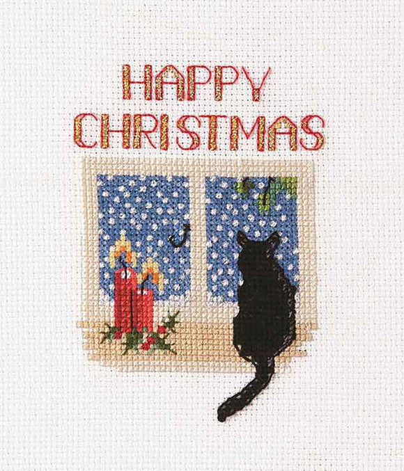 Christmas Cat Cross Stitch Christmas Card Kit by Derwentwater Designs