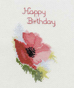 Poppy Cross Stitch Card Kit by Derwentwater Designs